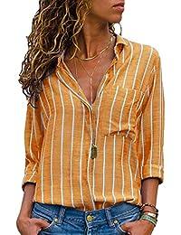 Minetom Donna Camicetta Chiffon Blusa Elegante Camicia Manica Lunga Scollo  V Camicetta Camicia Bavero Elegante Bluse 63c869e09c8