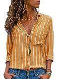 Minetom Damen Bluse Elegant Chiffon V-Ausschnitt Langarm Casual Oberteil Lose Langarmshirt Vintage Tunika Hemd T-Shirt S-XXL A Gelb DE 42