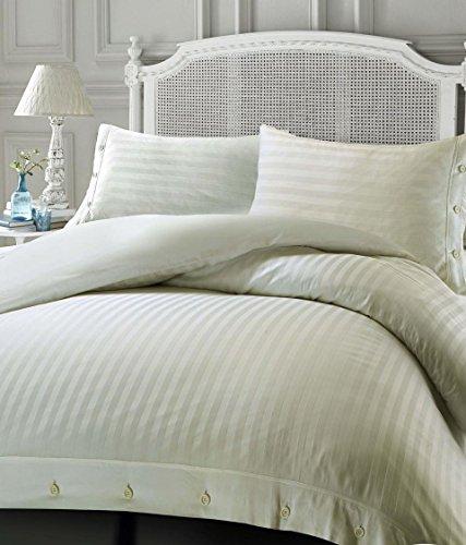 Luxury Soft Touch Hotel Quality Non-Iron 100% Egyptian Cotton Sateen Satin Stripe Duvet Cover Set - Cream - Double