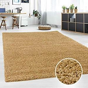 Hochflor Teppich | Shaggy Teppich fürs Wohnzimmer Modern & Flauschig | Läufer für Schlafzimmer, Esszimmer, Flur und Kinderzimmer | Langflor Carpet beige 060x090 cm