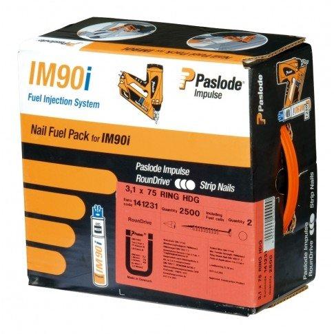 142048 Pointe crantee IM90I inox A2 + Gaz - 2,8 x 70 mm - Pack de 1250
