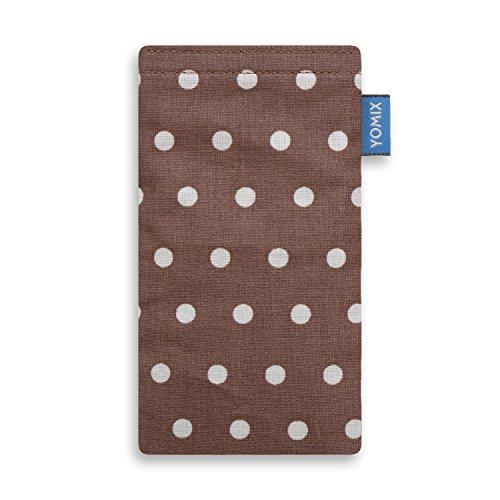 YOMIX Handytasche | Tasche | Hülle GUNILLA braun für BlackBerry Priv aus beschichteter Baumwolle mit genialer Bildschirm-Reinigungsfunktion durch Microfaserinnenfutter