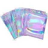 100 Pièces Sacs Refermables Anti-Odeur Sac de Pochette en Aluminium Sac Plat Ziplock pour Faveur de Fête Stockage de Nourriture (Couleur Holographique, 3,3 x 5,1 Pouces)
