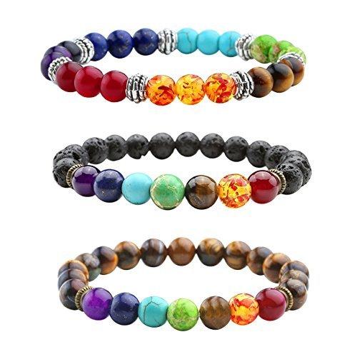 3er Natürlich Edelstein Armband Chakra Balance Armreif Energietherapie Healing Balance Buddha-Armband (Armreifen Armbänder Sets)