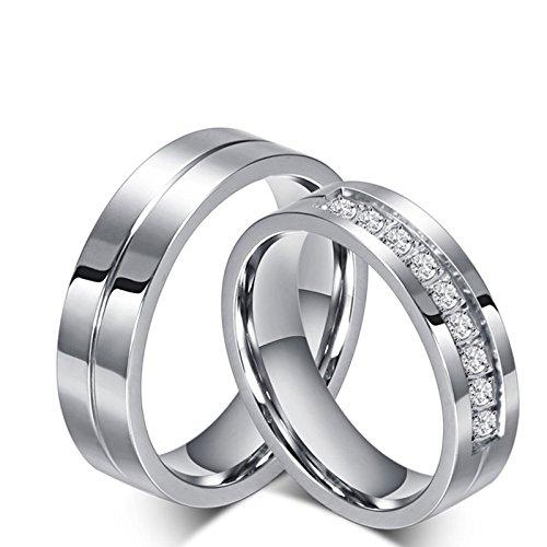 Beydodo anelli coppia lui e lei fidanzamento anello zirconi bianco anello in acciaio chirurgico donna misura 15 & uomo misura 27