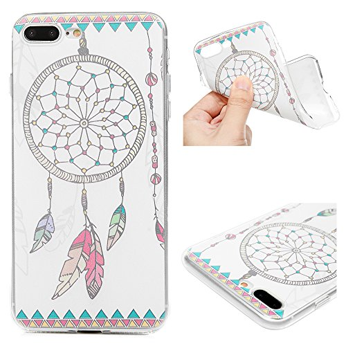 Edauto iPhone 7 Plus Hülle Silikon iPhone 8 Plus Case Ultra Dünn Handyhülle Schutzhülle Transparent Handyschale Handytasche Malen Tasche TPU Durchsichtige Schale Soft Etui Farbe Traumfänger