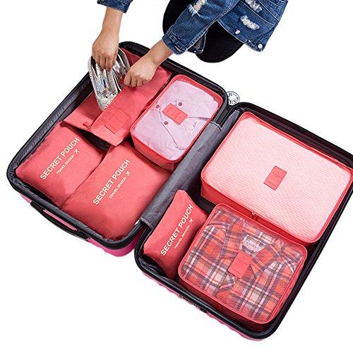 Belsmi Reise Kleidertaschen Set 7-teilig Reisetasche in Koffer Reisegepäck Organizer Kompression Taschen Kofferorganizer Mit Schuhbeutel (Grün) Wassermelonen Rot