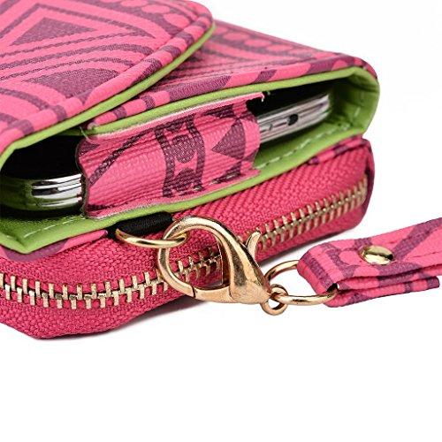 Kroo Pochette/Tribal Urban Style Étui pour téléphone portable compatible avec Lenovo K800 White with Mint Blue Rose
