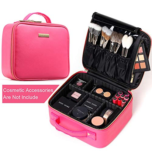 [Gifts for women] ROWNYEON PU Leather Makeup Bag Portable Makeup Artist Case Professional Makeup Train Case With Adjustable Dividers Best Gift For Girl (Small, rosa)