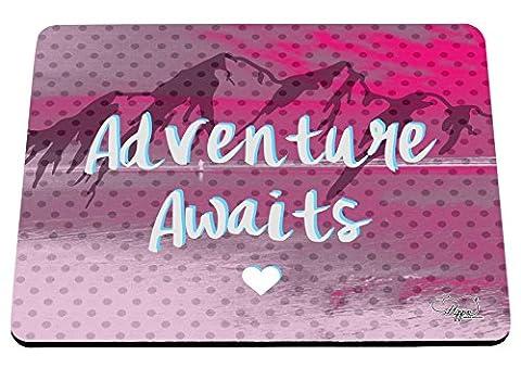 hippowarehouse Abenteuer erwartet Mountain Landschaft bedruckt Mauspad Zubehör Schwarz Gummi Boden 240mm x 190mm x 60mm, hot pink, (Outdoor Adventures Wallpaper)