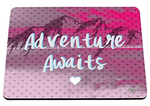hippowarehouse Abenteuer erwartet Mountain Landschaft bedruckt Mauspad Zubehör Schwarz Gummi Boden 240mm x 190mm x 60mm, hot pink, Einheitsgröße