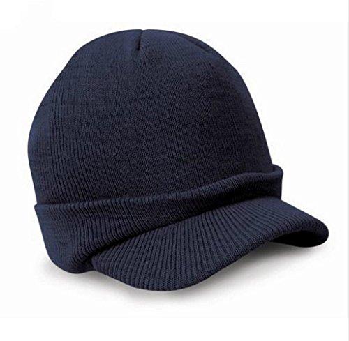 Tongshi Beanie Esco Enarboladas Ejército de sombrero de invierno cálida de lana para hombre del casquillo de esquí de las señoras Cadet (Armada)