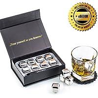 Exclusivo Whisky Piedras Set de Regalo de Acero Inoxidable - Alta Tecnología de Refrigeración - Whiskey Stones Gift Set - 8 Reutilizables Cubitos de Hielo para Whiskey con Posavasos + Pinzas by Amerigo