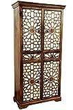 Orientalischer grosser Schrank Kleiderschrank Rabat 180cm hoch | Marokkanischer Vintage Dielenschrank schmal | Orientalische Schränke aus Holz massiv für den Flur, Schlafzimmer, Wohnzimmer oder Bad