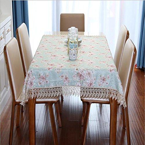 HUANZI Rechteck Tischdecke Rose Muster Tischdecke Dekorative Tischdecke Tee Tisch TV Counter Tuch Spitze Tischdecke, 140*190 (Tee Rose-muster)