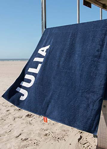 S< telo mare con nome - stampa personalizzata - asciugamano da sauna xxl - telo mare 100 x 200 in cotone, 100% cotone, blu scuro, 100 x 200 cm
