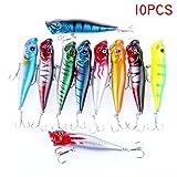 Dealit 10 PCS Popper Esche da Pesca Crankbaits delle Esche Bass Ciprinidi Lure Kits