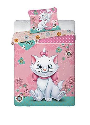 Maxi&Mini - MARIE CAT LES ARISTOCHATS LINGE DE LIT PARURE HOUSSE DE COUETTE + TAIE DÉCO CHAMBRE ENFANT