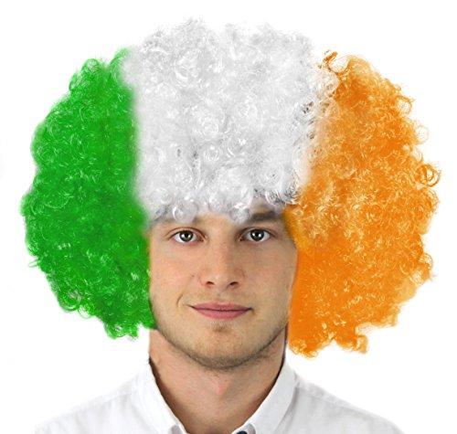 N/WEISS/ORANGE= AFRO PERÜCKE IN DEN FARBEN VON IRLAND =SUPER FÜR SPORT ODER NATIONALFEIERTAG ODER JEDE IRISCHE PARTY (Weißer Wal Kostüm)