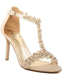 Unze Femmes nouvelles 'Carzrose' Diamante embellie sangle de la cheville Peep Toe Mid Soirée talon haut, mariage, Prom Party Chaussures Tailles 3-8