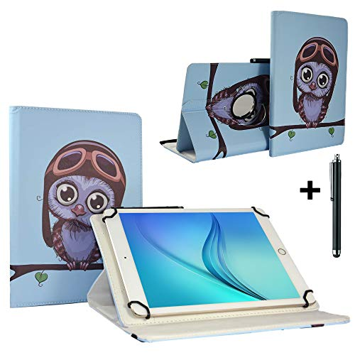 Tablet Schutzhülle 10.1 Zoll für NINETEC Ultratab 10 Pro Tablet PC Hülle Case Etui mit 360 Drehbare Standfunktion - Eule 1