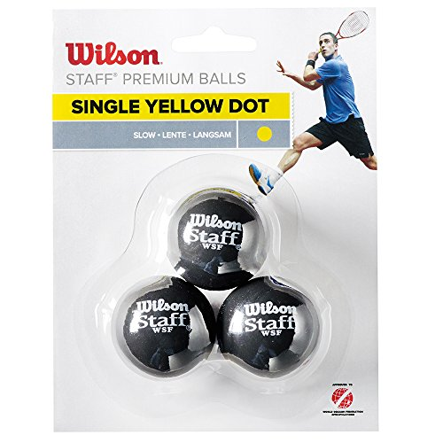 Wilson Staff-Balles de Squash à point jaune-Lot de 3