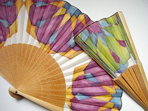 Abanico español/Abanico pintado a mano/Abanico azulejos/Abanico artesanal/Abanico de madera/Abanico moderno/