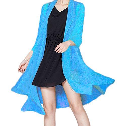 Minetom Femmes Boho Imitez Silk Châle Kimono Manteau Cardigan Tops Cover Up Blouse Bleu