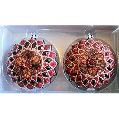 Set of 2 Victorian Style Glass Christmas Ornaments Red & Silver Color by Dillard's Trimmings