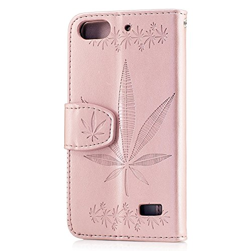 Für Huawei Honor 4C Case Cover, Premium Soft TPU / PU Leder geprägt Ahorn Muster Brieftasche Fall mit Halter & Cash Card Slots & Lanyard ( Color : Gold ) Rose Gold