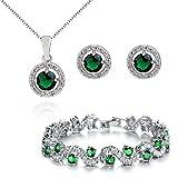 Redondo Esmeralda simulada verde Cristales austríacos de Zirconia Juego de joyas Collar con colgante Pendientes Pulsera 18k Chapado en oro blanco