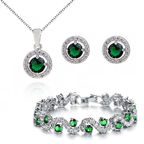 Juego de collar, pulsera y pendientes de Chapado en oro blanco de 18 ct con Crystals from Swarovski, verde esmeralda