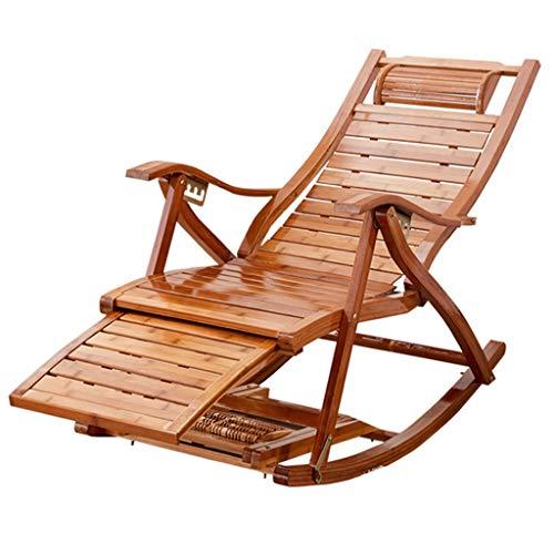 Lounge Chair Réglable Chaise Inclinable En Bambou Rocking Chair Pliant Portable Chaise de jardin pour Jardin Lawn Deck Backyard