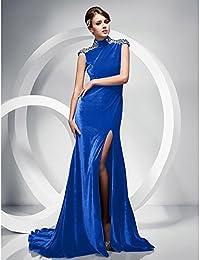 kekafu Cuello alto trompeta / sirena barrer / cepillo tren vestido de noche de terciopelo por TS ,azul Royal,US 10 / 14…