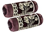 """Mahaluxmi Creations Chenille Bolsters Round Pillow Cover - 30""""x16"""", Set of 2, Coffee"""