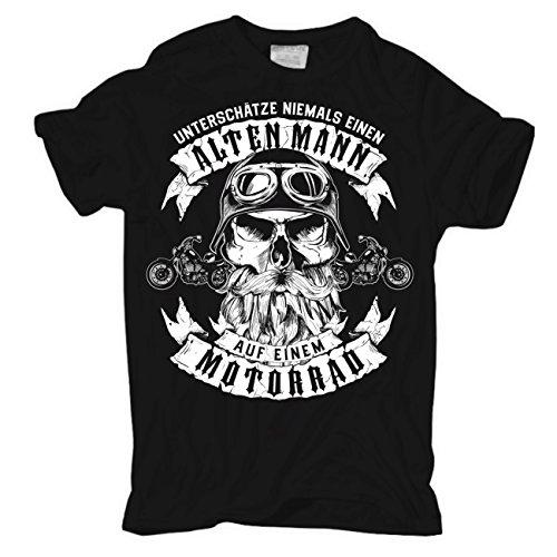 """Fun Biker T-Shirt """"Unterschätze nie einen alten Mann auf Motorrad"""" thumbnail"""