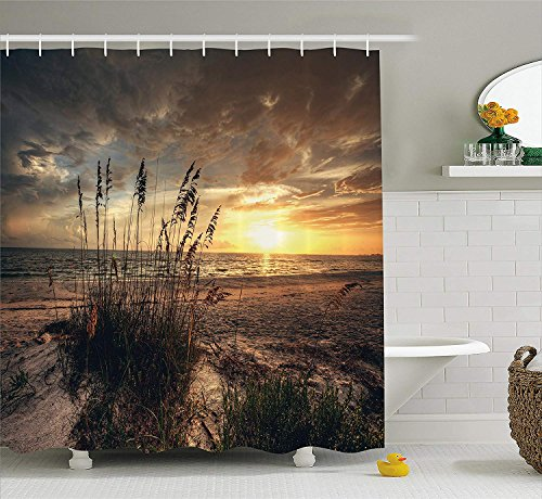 Beach Shower Curtain, Calm Coastal Scene with Horizon in The Middle of Nowhere Cloudy Sunset Ocean Picture, Fabric Bathroom Decor Set with Hooks, 66x72 inches, Tan Yellow