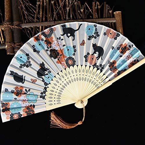 Kind Tanz Kostüm Katze - XIAOHAIZI Handfächer,Sommer Chinesischen Stil Frauen Bambus Fan Beige Hohle Pflanze Blume Tier Katze Vintage Chinesischen Stil Seide Fan Geeignet Für Hochzeit Dame Geschenk Tanz Fan U-Bahn Faltfächer