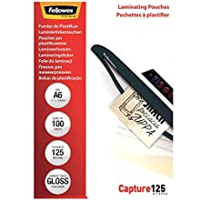 Fellowes A6 Laminating Pouches, Gloss, 250 Micron (2 x 125 Micron), Pack of 100