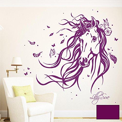 Ilka Parey Wandtattoo Welt® Wandtattoo Pferd Wildpferd Mit Blumen Federn  Schmetterlingen Und Wunschnamen M1874 Ausgewählte Farbe: *lila* Ausgewählte  Größe: ...