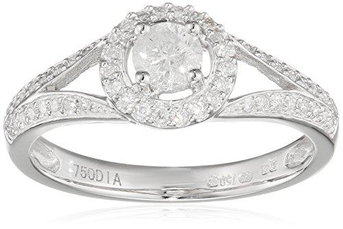 Naava Damen-Ring-750 Weißgold Diamant 18 K Rundschliff weiß (Amazon Diamant Ringe)