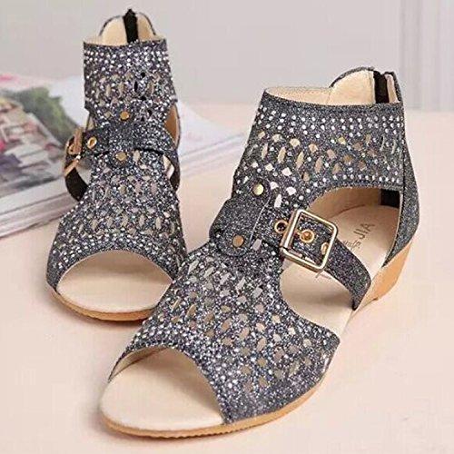 Azbro Women's Peep Toe Hollow out Wedge Heels Sandals Golden