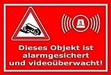 Video-Überwachung Aufkleber - Objekt alarmgesichert videoüberwacht 15x10cm – S00348-017-D – Kamera-Überwachung +++ in 20 Varianten erhältlich