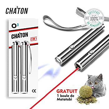 O³ Jouet interactif Chat - 2 Poiteur lumineux + 1 boule de Matatabi Cadeau - Lampe Led 2 en 1 - Exercices pour chat - Norme CE