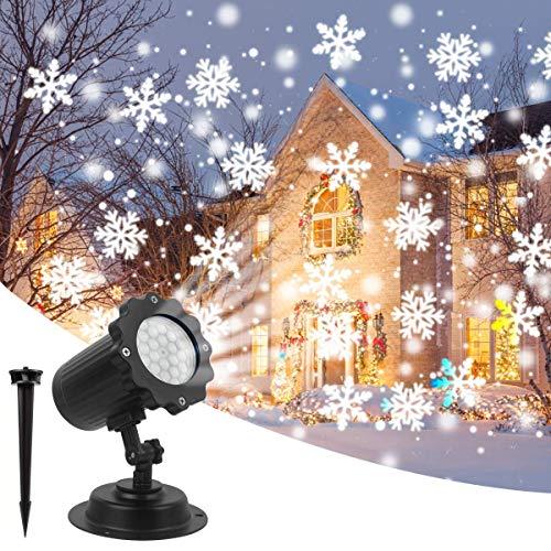 OOFAN Proiettori Luce Natalizie Neve Bianca Flurries Rotating Snowfall Spotlight per Natale, San Valentino, Paesaggio da Matrimonio e Decorazioni da Giardino