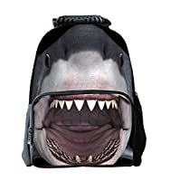 EssVita Boys Girls Casual Backpack 3D Animals Print School Backpack Bags Laptop Hiking Daypack (Shark)