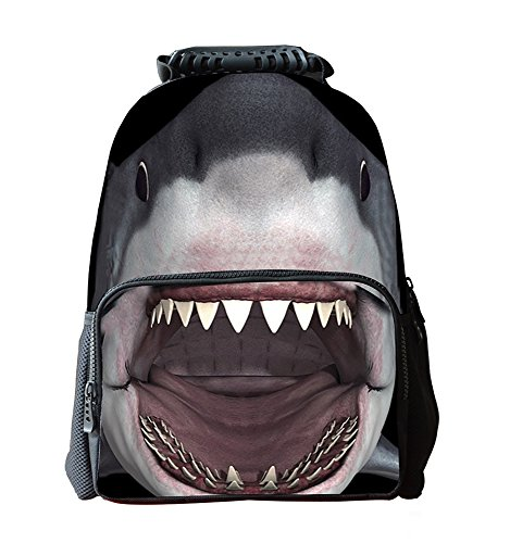 Kinder Rucksack Weitermachen, (EssVita Jungen Mädchen zufällige Rucksack 3D Tiere Print-Schule-Rucksack-Beutel Laptop Wandern Daypack (Hai))