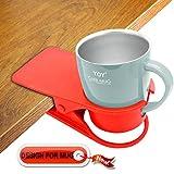 HOLLIHI drink Cup Holder Clip–Tavolino laterale acqua vetro bottiglia di birra tumbler Beverage soda Tea Coffee mug Cup Holder piattino clip design per home office Red for Mug