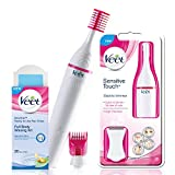 #4: Veet Sensitive Touch Electric Trimmer with Veet Wax Kit for Sensitive Skin, 20 Pieces (Pink)
