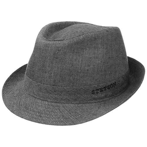 Stetson Geneva Leinenhut | Sonnenhut Damen/Herren | Stoffhut Made in Italy | Sommerhut mit UV-Schutz 40+ | Trilby aus Leinen Frühjahr/Sommer grau 60 cm